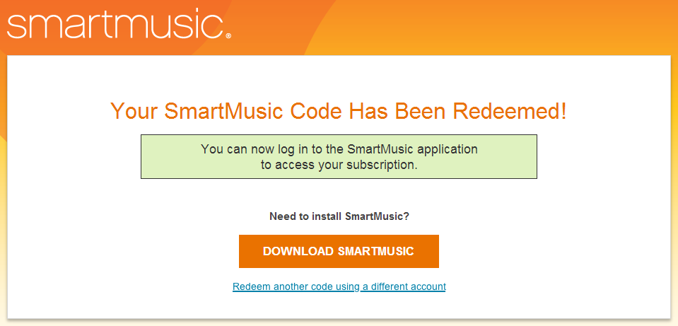 Redeem a SmartMusic subscription code